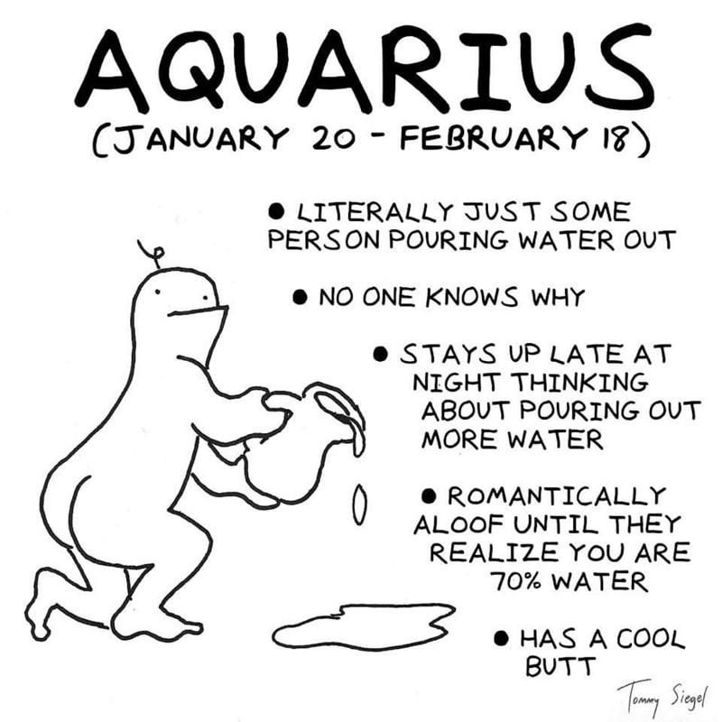 White - AQUARIUS (JANUARY 20 FEBRUARY 18) LITERALLY JUST SOME PERSON POURING WATER OUT NO ONE KNOWS WHY STAYS UP LATE AT NIGHT THINKING ABOUT POURING OUT MORE WATER ROMANTICALLY ALOOF UNTIL THEY REALIZE YOU ARE 70% WATER HAS A COOL BUTT