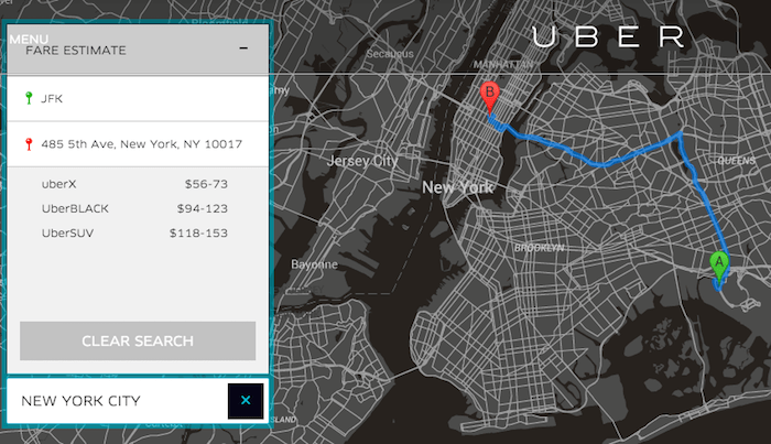 a picture of the black and white maps uber uses in their apps with a fare estimate on the side