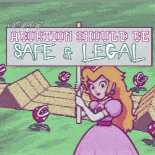 "ALabama abortion ban memes: Princess Peach holding a sign that says ""Abortion should be safe and legal."""