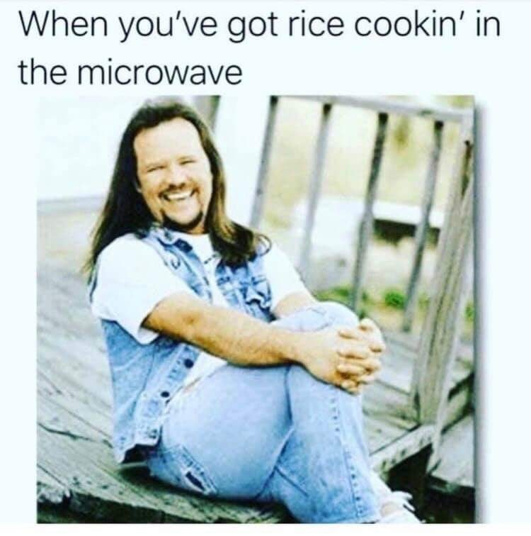 Facial expression - When you've got rice cookin' in the microwave