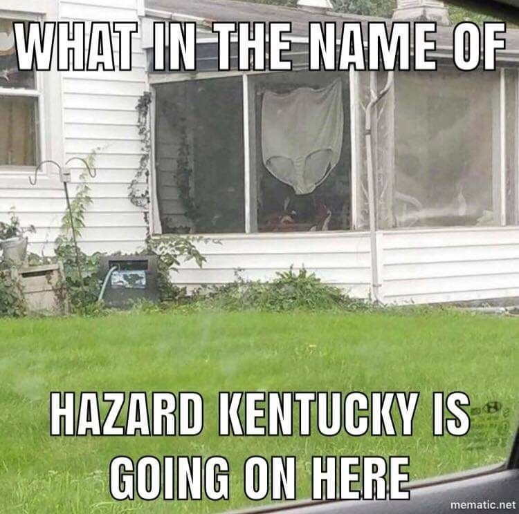 """Caption that reads, """"What in the name of hazard Kentucky is going on here"""" over a photo of a giant pair of underwear hanging in a house window"""