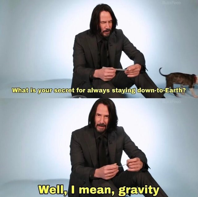 keanu reeves reading from paper in white room What is your secret for always staying down-to-Earth? Feep Well,I mean, gravity