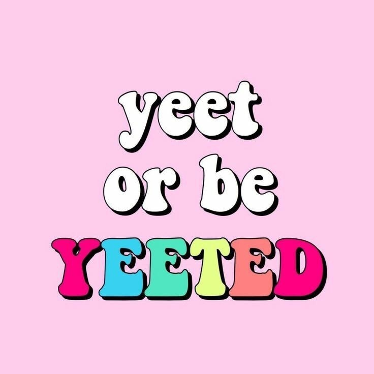 "random meme of the phrase ""yeet or be yeeted"" on a pink background with some of the letters having different colors"