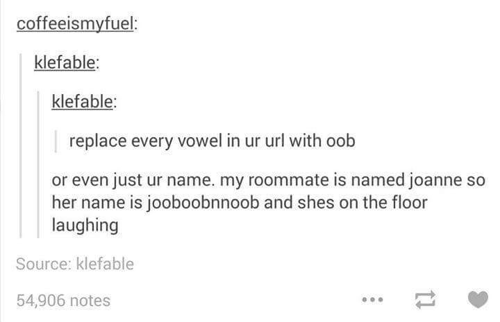 Text - coffeeismyfuel: klefable: klefable: replace every vowel in ur url with oob or even just ur name. my roommate is named joanne so her name is jooboobnnoob and shes on the floor laughing Source: klefable 54,906 notes 1
