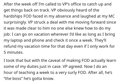 IT guy plan - Text - After the week off I'm called to VP's office to catch up and get things back on track. VP obviously heard of the hardships FOD faced in my absence