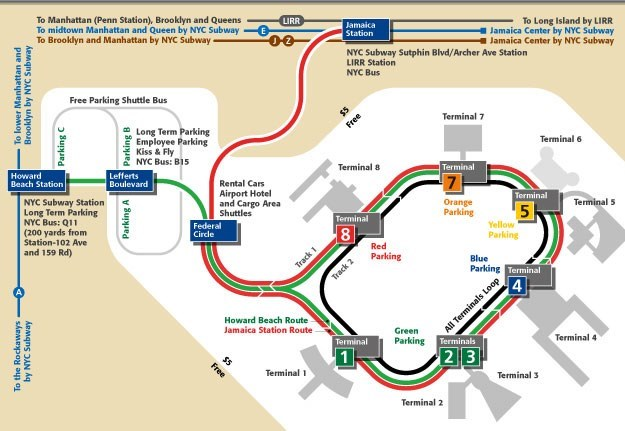 a simplified map of JFK airport showing the AirTrain travel route in different colors
