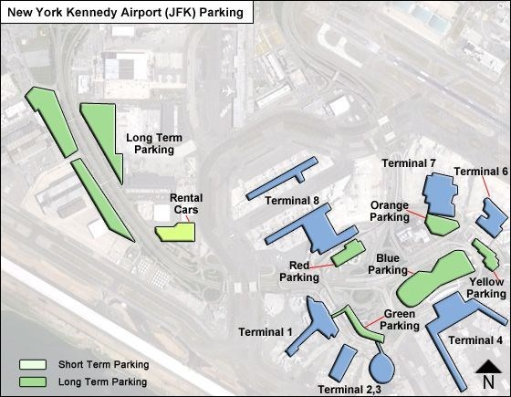 a blurred map of JFK airport with blue and green marks showing the different parking lots and terminals