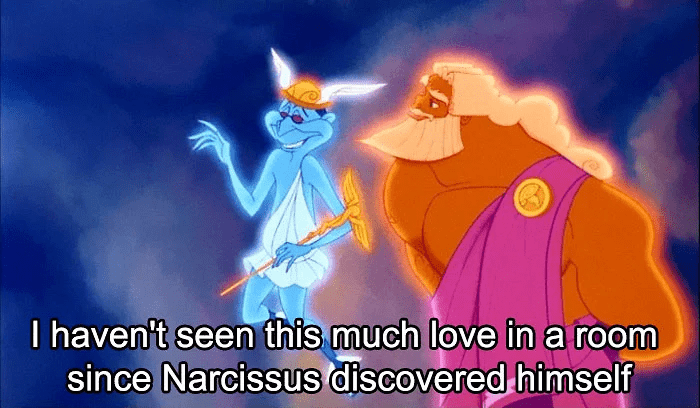 Animated cartoon - I haven't seen this much love in a room since Narcissus discovered himself