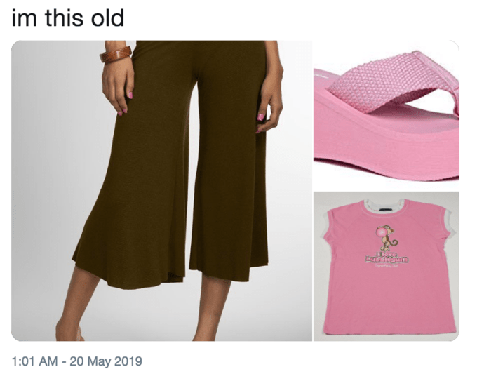 'I'm this Old' meme featuring gaucho pants, platform sandals and a pink T-shirt
