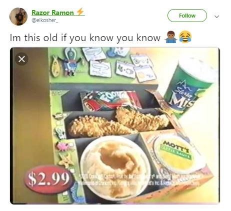 'I'm this Old' meme featuring a box with fast food