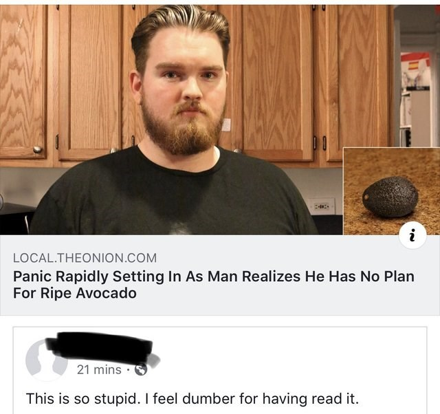 misunderstood satire - Facial hair - i LOCAL.THEONION.COM Panic Rapidly Setting In As Man Realizes He Has No Plan For Ripe Avocado 21 mins This is so stupid. I feel dumber for having read it.