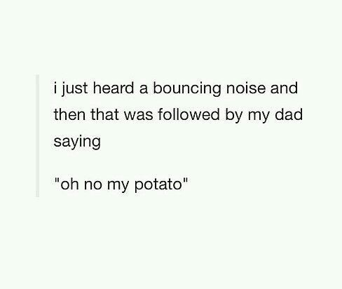 """dank memes - Text - i just heard a bouncing noise and then that was followed by my dad saying """"oh no my potato"""""""