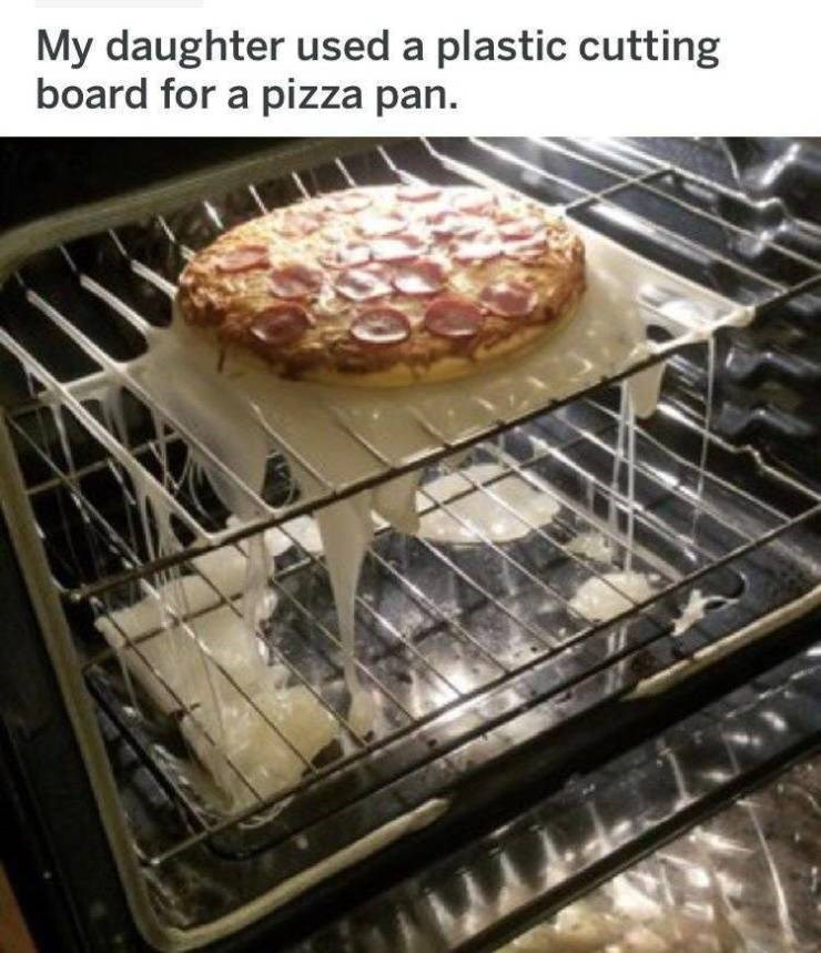 bad day - Dish - My daughter used a plastic cutting board for a pizza pan.