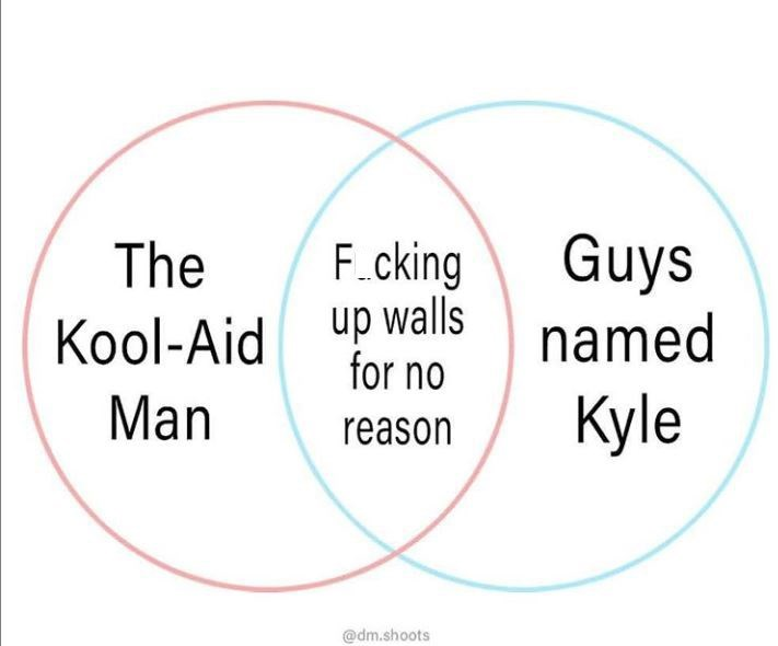 meme kyle - Text - Guys F.cking up walls for no The named Kool-Aid Kyle Man reason @dm.shoots