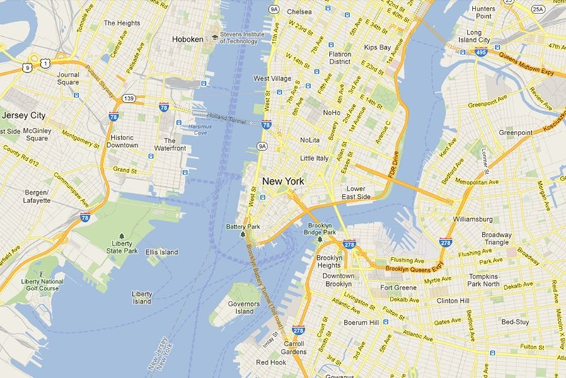 a screenshot of the Google Maps view of new york city