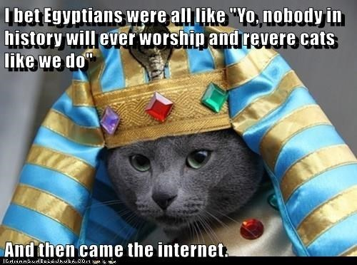 "Cat - lbet Egyptians were all like ""Yo, nobody in history will ever worship and revere cats like we do And then came the internet"