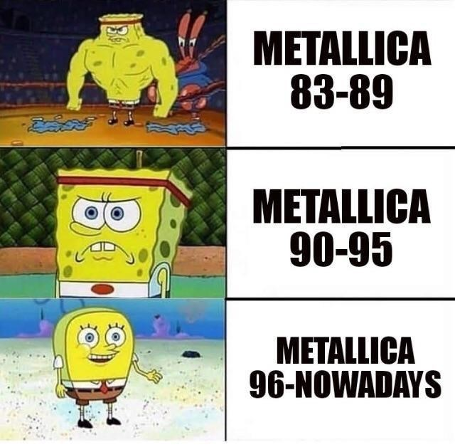 metal memes with spongebob about Metallica