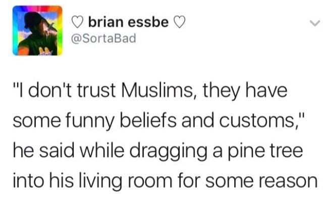 """Text - brian essbe @SortaBad """"I don't trust Muslims, they have some funny beliefs and customs,"""" he said while dragging a pine tree into his living room for some reason"""