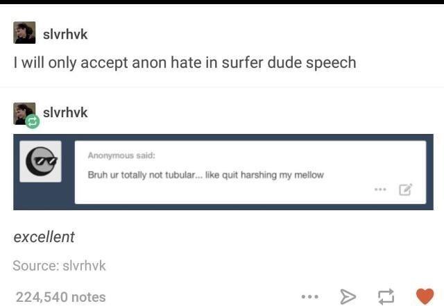 Text - slvrhvk I will only accept anon hate in surfer dude speech slvrhvk Anonymous said: Bruh ur totally not tubular... like quit harshing my mellow excellent Source: slvrhvk 224,540 notes