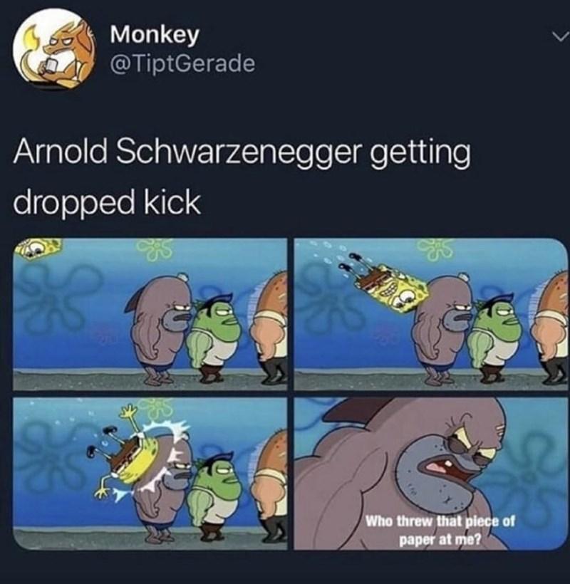 Cartoon - Monkey @TiptGerade Arnold Schwarzenegger getting dropped kick Who threw that piece of paper at me?