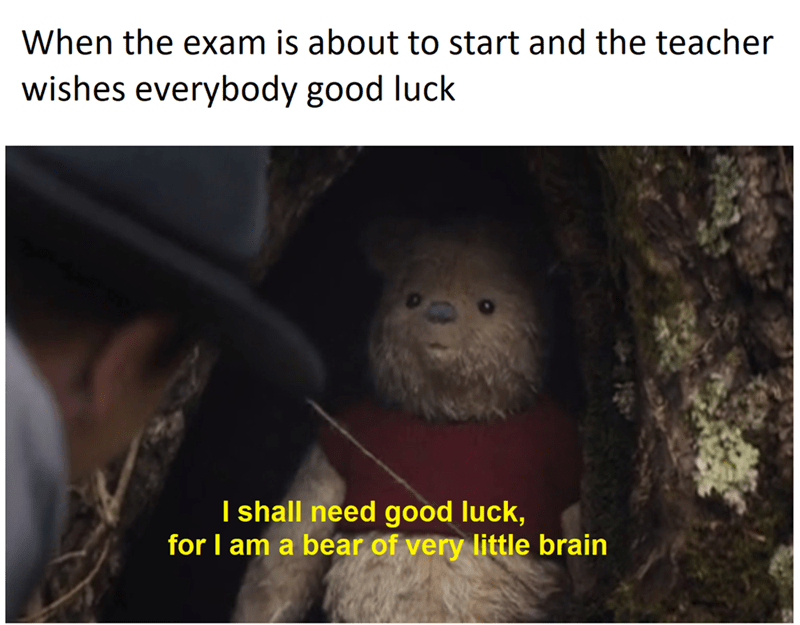 Organism - When the exam is about to start and the teacher wishes everybody good luck I shall need good luck, for I am a bear of very little brain