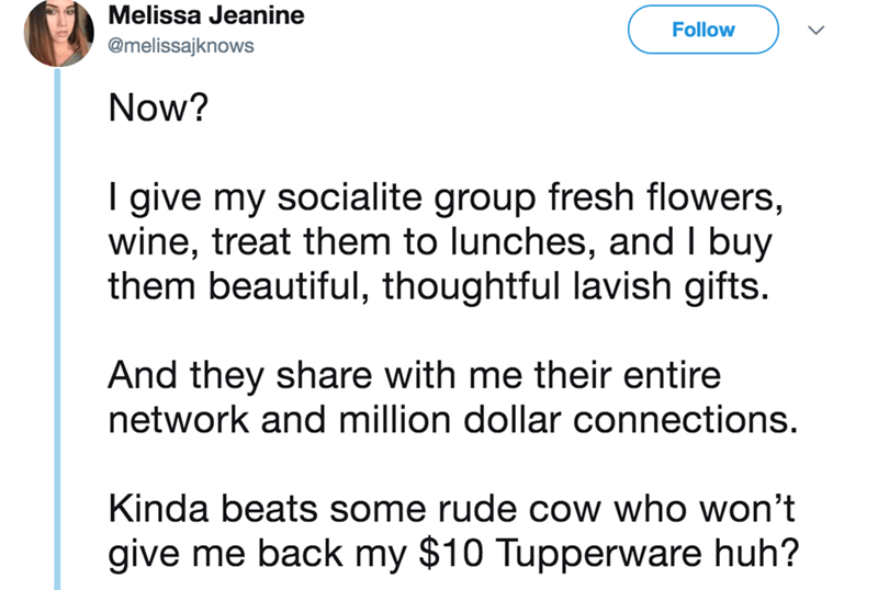 twitter - Text - Melissa Jeanine Follow @melissajknows Now? I give my socialite group fresh flowers, wine, treat them to lunches, and I buy them beautiful, thoughtful lavish gifts. And they share with me their entire network and million dollar connections. Kinda beats some rude cow who won't give me back my $10 Tupperware huh?