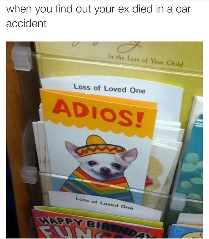 offensive meme - Text - when you find out your ex died in a ca accident In the Loas of Your Child Loss of Loved One ADIOS! Loss of Loved One BARPY BIRTMDA FUN