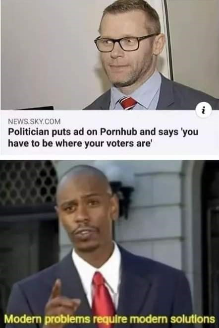 Funny meme about a politician who put his ads on Pornhub