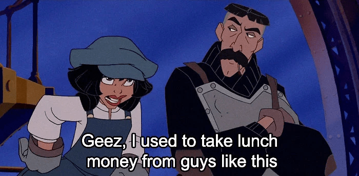 disney insult - Animated cartoon - Geez,used to take lunch money from guys like this