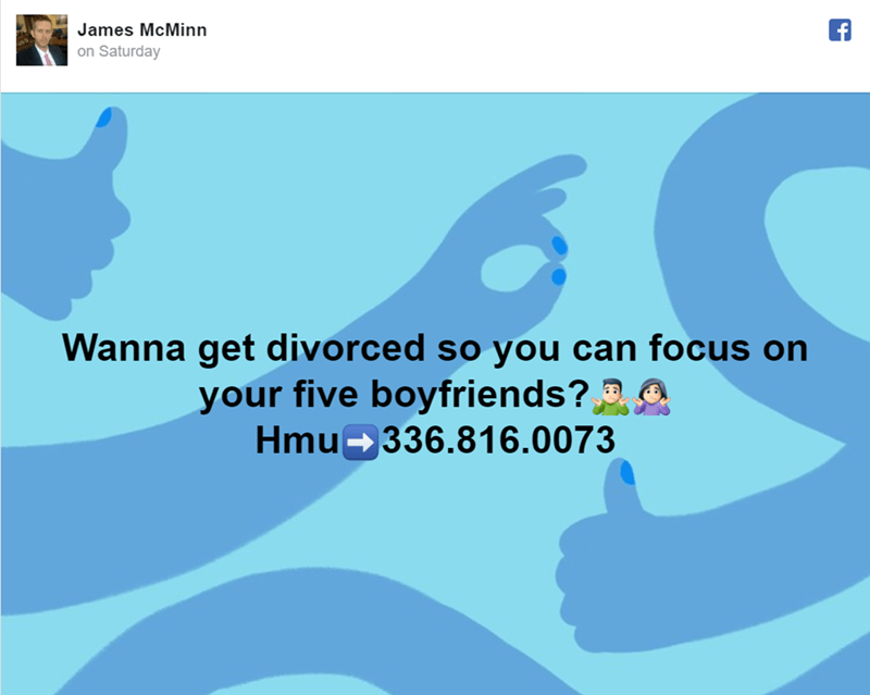 Text - James McMinn on Saturday Wanna get divorced so you can focus on your five boyfriends? Hmu 336.81 6.0073