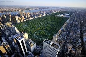 an aerial view of Central Park, with buildings surrounding the green rectangle of the park