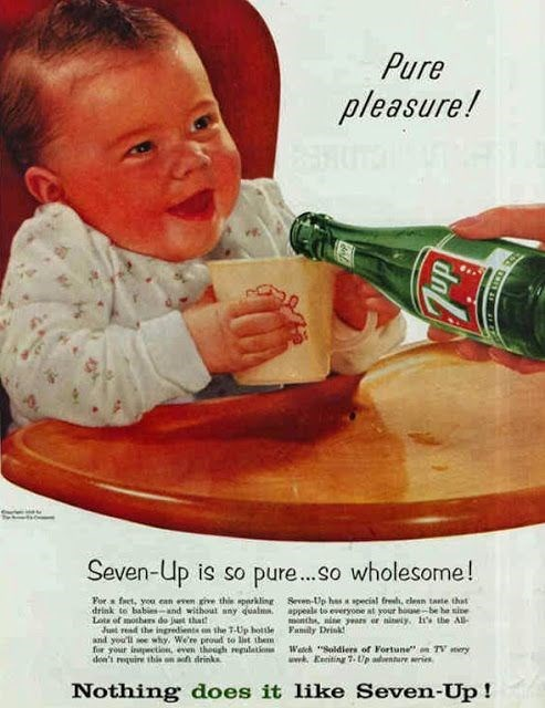 """Vintage advertisement - Pure pleasure! Seven-Up is so pure....so wholesome! For ft, yea ean even give thie sparkling drink to babies-and without any dualms. La of mothas do just thatt Junt read the ingredients on the T-Up hottle and you'll see why. We're proud to list them for your inpctie,even though repalation dee's quire tbis on af drinks Seven-Up has a special fred, clean taste tht appele to everyooe at your house-be he sine nth, nine yas er nineiy. hs the All- Fanily Drisk! Wateh """"Soldiers"""