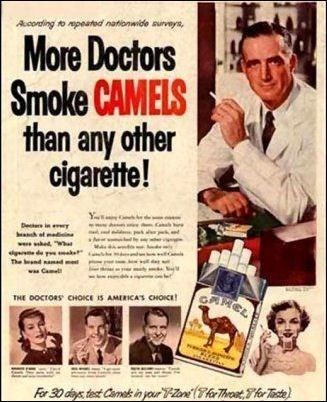 Vintage advertisement - Acording to repeated natonwide survys, More Doctors Smoke CAMELS than any other cigarette! Y Dee in ot w hed w de The end ad wCme ০ CHOICE IS AMERICA'S CHOca e For 30 days test Came inyour-onThToTe
