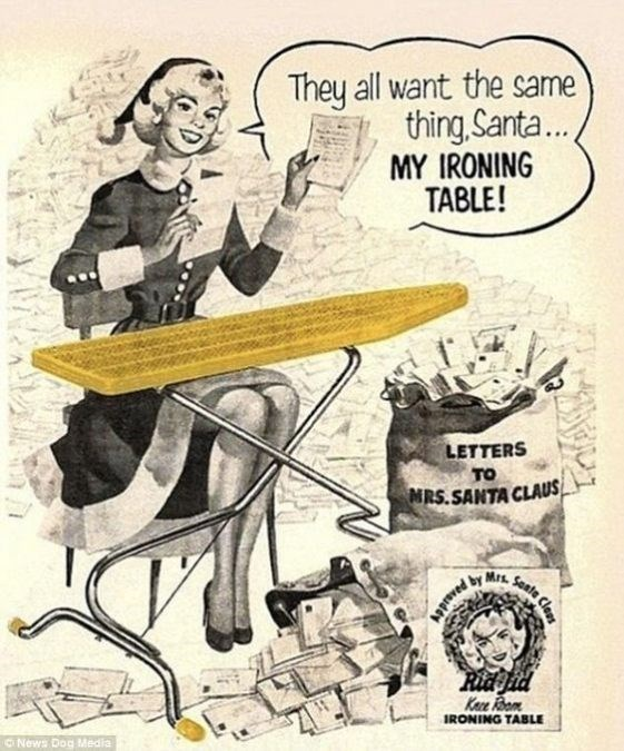 Cartoon - They all want the same thing,Santa... MY IRONING TABLE! LETTERS то MRS.SANTA CLAUS Sante Mrs by lass Keze Room IRONING TABLE News Dog Media PaASid