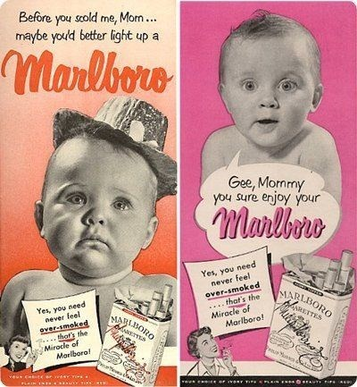Vintage advertisement - Before you scold me, Morn.. maybe youd better light up Marlbore Gee, Mormmy you sure enjoy your manlbine Yes, you need never feel over-smoked ...that's the Miracle of Marlboro! MARLBORO NRETTES Yes, you need never leel over-smoked .thot's the Mirocle of Marlbora! MARLBORO NETTES veus cere