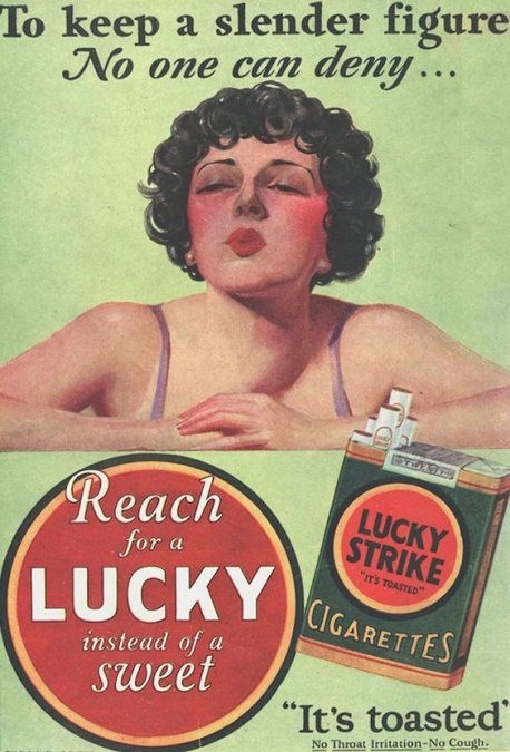 """Vintage advertisement - To keep a slender figure- No one can deny... Reach LUCKY STRIKE for a """"IT'S TOASTED (LUCKYICARETTES instead of a sweet """"It's toasted No Throat Irritation-No Cough."""