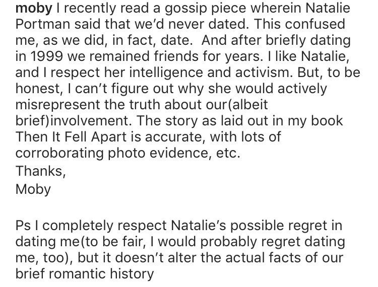 Text of Moby's Instagram post about dating natalie portman