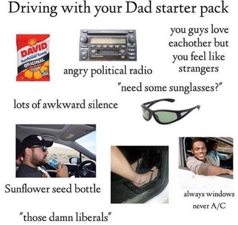 """Driving with your dad"" starter pack"