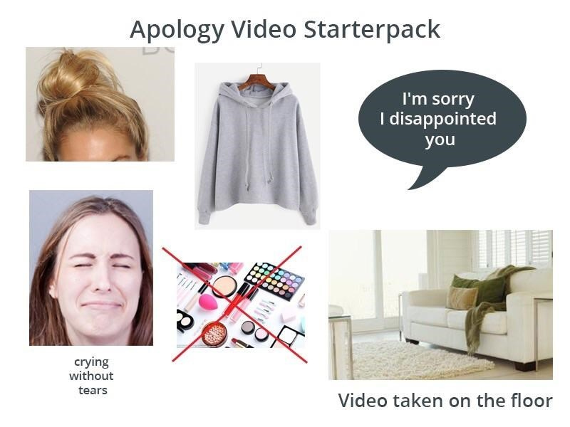 White - Apology Video Starterpack I'm sorry I disappointed you crying without tears Video taken on the floor
