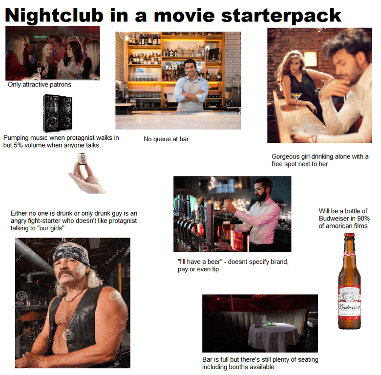 """Muscle - Nightclub in a movie starterpack Only attractive patrons Pumping music when protagnist walks in but 5% volume when anyone talks No queue at bar Gorgeous girl drinking alone with a free spot next to her Either no one is drunk or only drunk guy is an angry fight-starter who doesn't like protagnist talking to """"our girls"""" Will be a bottle of Budweiser in 90% of american films eom drenmrtime """"TIl have a beer"""" - doesnt specify brand, pay or even tip Budeweise emstim draamseime Bar is full but"""