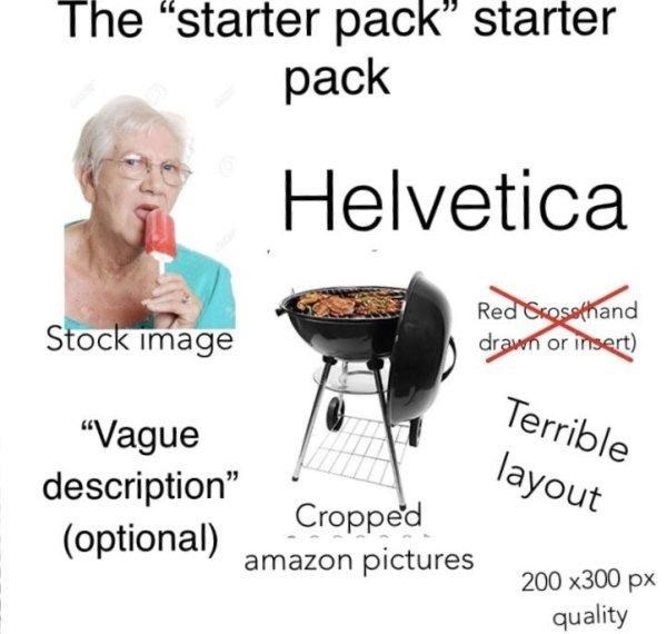 """Text - The """"starter pack"""" starter pack Helvetica Red Srosethand drawn or insert) Stock image Terrible """"Vague description"""" (optional) layout Cropped amazon pictures 200 x300 px quality"""