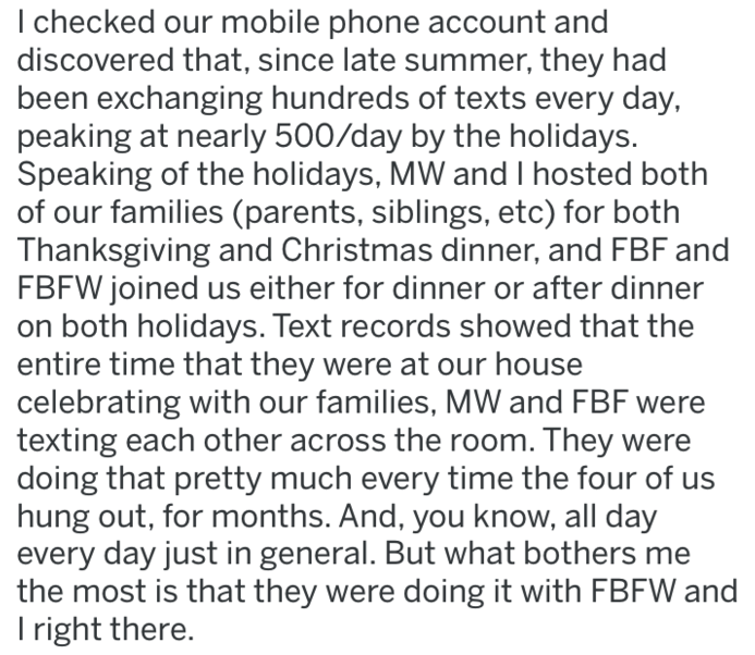 Text - I checked our mobile phone account and discovered that, since late summer, they had been exchanging hundreds of texts every day