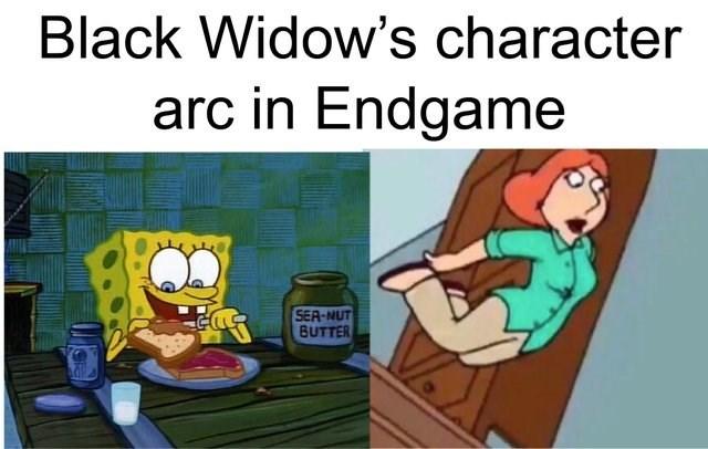 Reddit memes: Meme about black widow's character arc in black widow, scene of spongebob squarebpants eating a peanut butter sandwich, lois from family guy jumping.