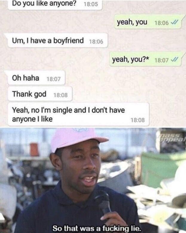 dank memes - Text - Do you like anyone? 18:05 yeah, you 18:06 Um, I have a boyfriend 18:06 yeah, you?* 18:07 Oh haha 18:07 Thank god 18:08 Yeah, no I'm single and I don't have anyone I like 18:08 nass ppea So that was a fucking lie.