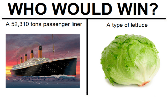 Reddit memes: Whoo would win meme featuring a 52,310 ton passenger liner (the titanic) vs a type of lettuce (iceberg)