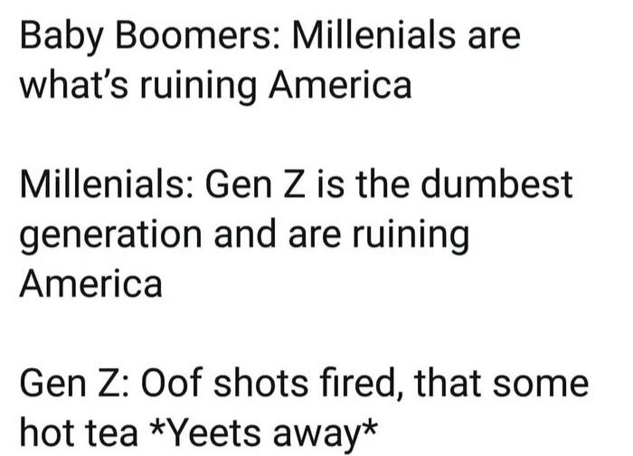 funny meme - Text - Baby Boomers: Millenials are what's ruining America Millenials: Gen Z is the dumbest generation and are ruining America Gen Z: Oof shots fired, that some hot tea *Yeets away*