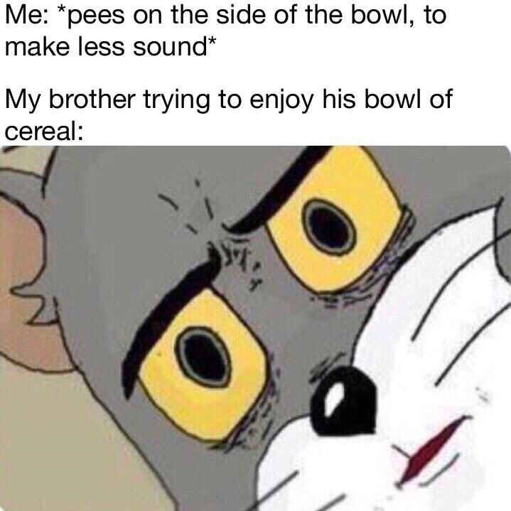 funny meme - Cartoon - Me: *pees on the side of the bowl, to make less sound* My brother trying to enjoy his bowl of cereal: