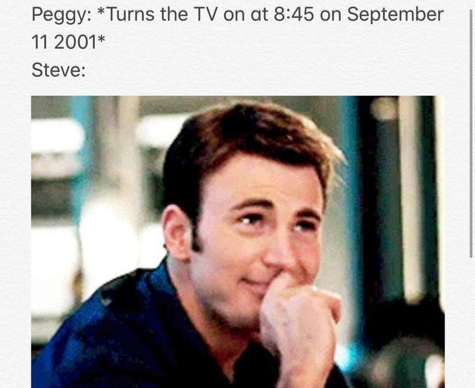 Steve Rogers/Captain America memes with Chris Evans about peggy and 9/11