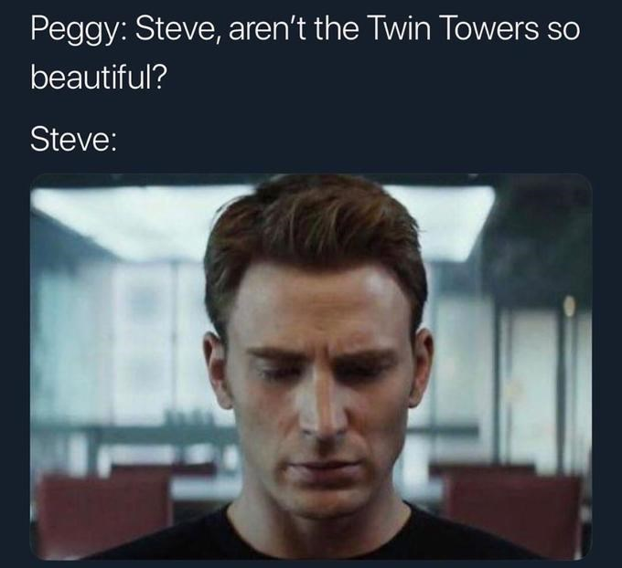 Steve Rogers/Captain America memes about the twin towers