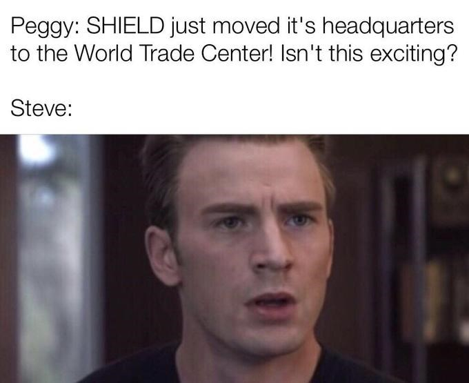 Steve Rogers/Captain America memes about moving shield to the world trade center